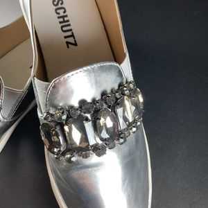 Schutz Silver Loafers with Bejeweled Vamp💎